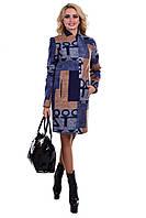 Женское двухцветное осеннее пальто арт. Марис шерсть принт 6802