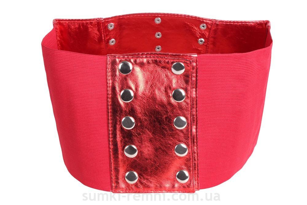 Женский корсет из искусственной кожи 222642 красный  69-76 см.