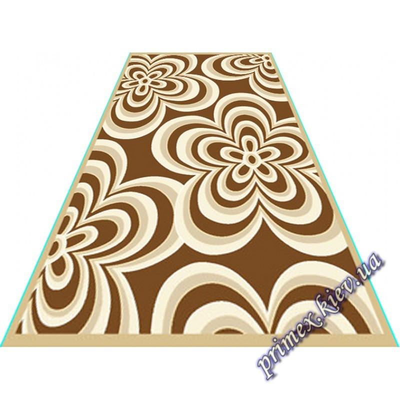 """Акриловый прямоугольный ковер с рельефным рисунком Айс """"Гипноз"""", цвет бежево-коричневый"""