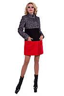 Женское осеннее трехцветное пальто арт. Квест букле 6961