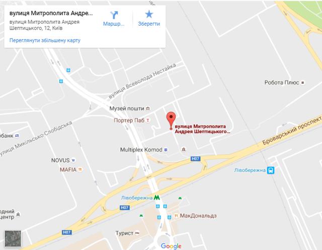 Местораспложение хостела на карте