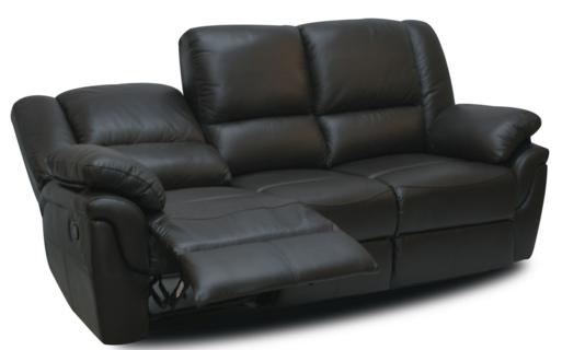 Мягкий трехместный кожаный диван с реклайнером - ALABAMA