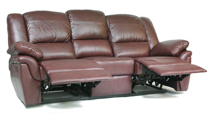 Шкіряний диван реклайнер Alabama, диван реклайнер, м'який диван, меблі з шкіри, диван, розкладний диван