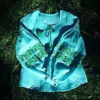 Женская вышиванка с пышными рукавами природа, фото 1