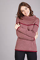 Теплый женский джемпер оригинального пошива в полоску воротник-хомут