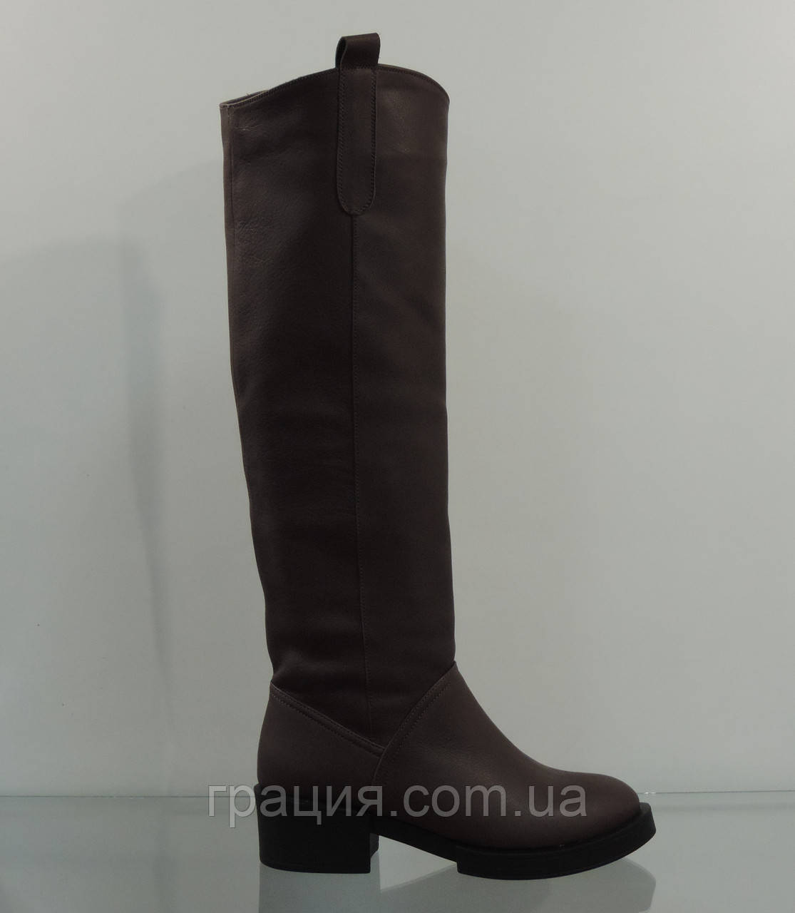 Молодежные зимние кожаные сапожки коричневые