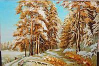 Картина из янтаря Зима №2