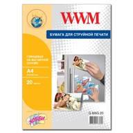 Фотобумага WWM глянцевая на магнитной основе A4 , 20л (G.MAG.20)