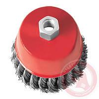 Щітка чашкова 85мм, для КШМ, М14, плетений дріт(пучки кручений дроту) (ВТ-2085)