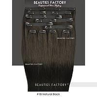 Набор натуральных волос на клипсах 50 см 150 грамм Beauties Factory оттенок 1B брюнет