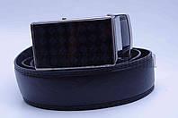 """Ремень мужской кожзам черный,  стекло пряжка, автомат """"Remen"""" LM-638"""