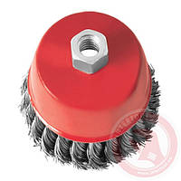 Щітка чашкова 100мм, для КШМ, М14, плетений дріт(пучки кручений дроту) (ВТ-2100)