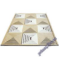 """Акриловый прямоугольный ковер с рельефным рисунком Айс """"Пирамида"""", цвет коричневый"""