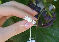 Срібне кільце з перлами Вишукане, фото 1