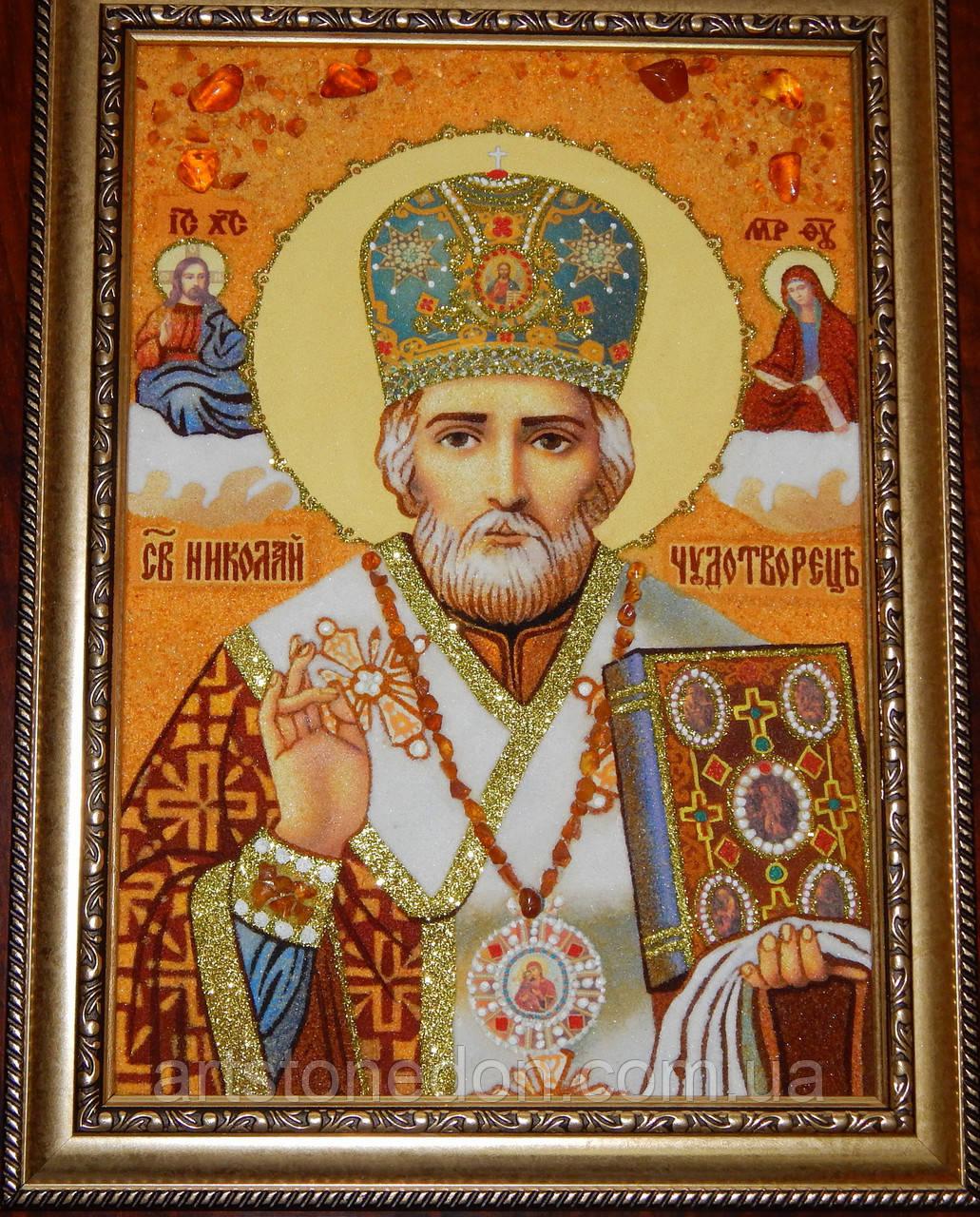 Картины и иконы из янтаря. Икона из янтаря Святой Николай Чудотворец