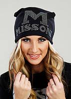 """Стильная женская утеплённая шапочка на флисе со стразами """"MISSONI"""", фото 1"""