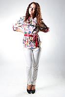 Блуза шелк стойка со складами, цветы на бежевом