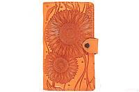 Визитница настольная на 120 карточек с файлами из натуральной кожи