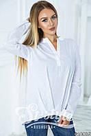 Модная белая блузка с небольшим воротником и длинным рукавом. Арт-01001/73