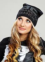 """Стильная женская утеплённая шапочка на флисе со стразами """"ELISABETTA FRANCHI"""", фото 1"""