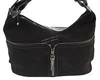Стильная кожаная объемная женская сумка черного цвета SOLANA art. 380