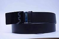 """Ремень мужской кожа (гладкая) черный, пряжка зажим стекло """"Remen"""" LM-638"""