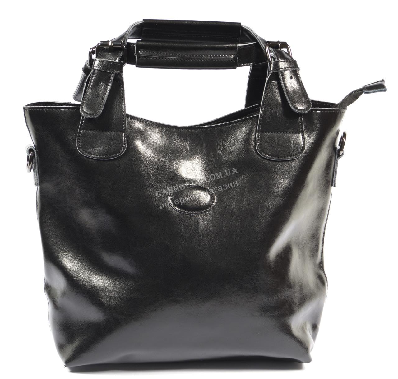 Стильная кожаная объемная женская сумка черного цвета SOLANA art. 50033