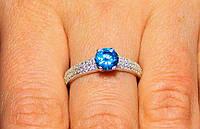 Кольцо серебро 925проба 16.5размер АРТ1184 Голубой, фото 1