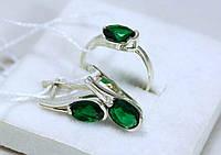 Набор Кольцо и Серьги серебро 925 проба АРТ235 Зеленый
