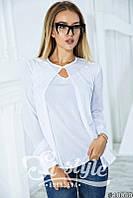Модная белая блузка с длинным рукавом (майка+ накидка). Арт-01004/73