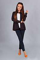 Модная блузка (белая майка+ коричневая накидка) с длинным рукавом. Арт-01004/73