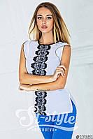 Модная белая блузка с черными кружевными вставками и коротким рукавом. Арт-01006/73