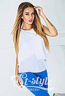 Модная белая блузка с белыми рюшами и коротким рукавом. Арт-01007/73