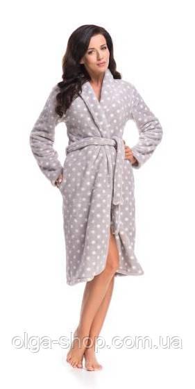 Халат женский домашний теплый плюшевый с капюшоном серый Dobra Nocka 8067