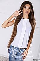 Стильная белая шифоновая блузка с черной вставкой на воротнике и коротким рукавом. Арт-01009/73