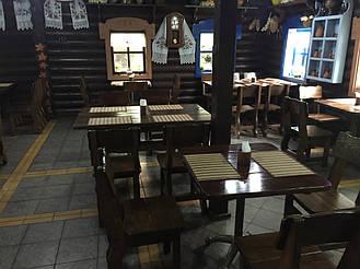 """Деревянная мебель в интерьере ресторана """"ХАТА GRILL"""" по трассе Киев-Житомир 6"""