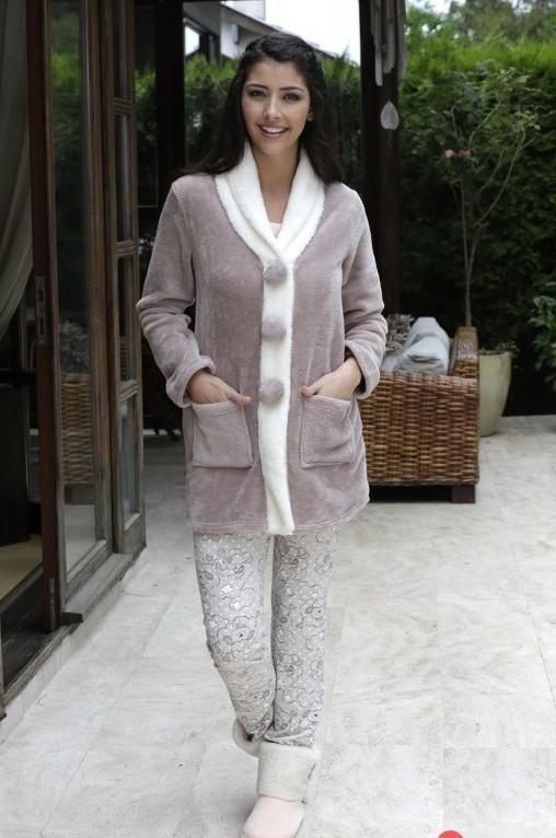 Жіночий костюм-трійка для дому із кардиганом на гудзиках та піжамою HAYS 6025 M