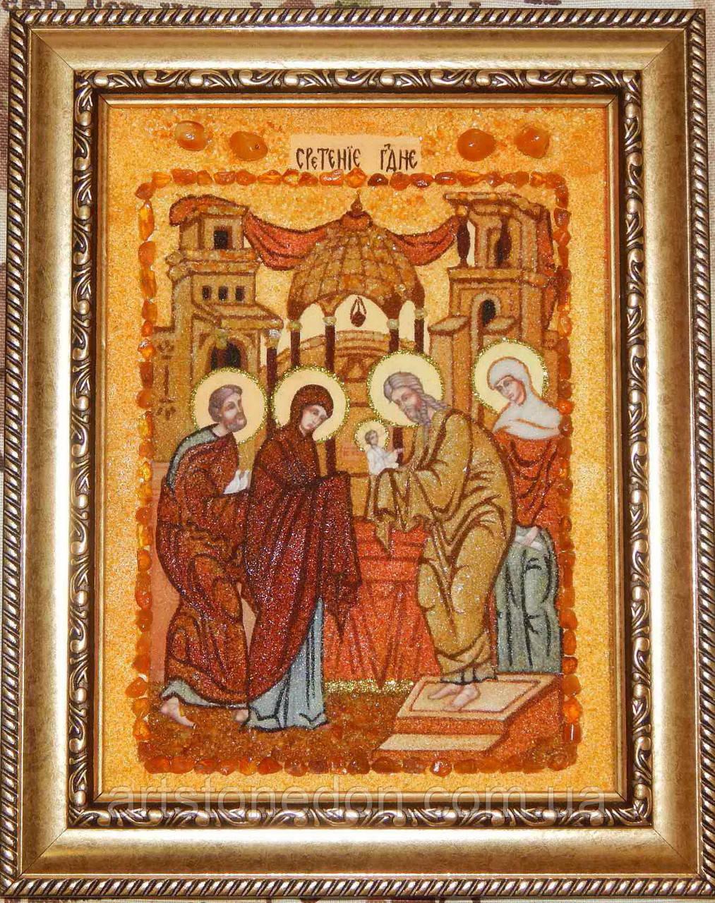 Ікона з янтаря Стрітення Господнє