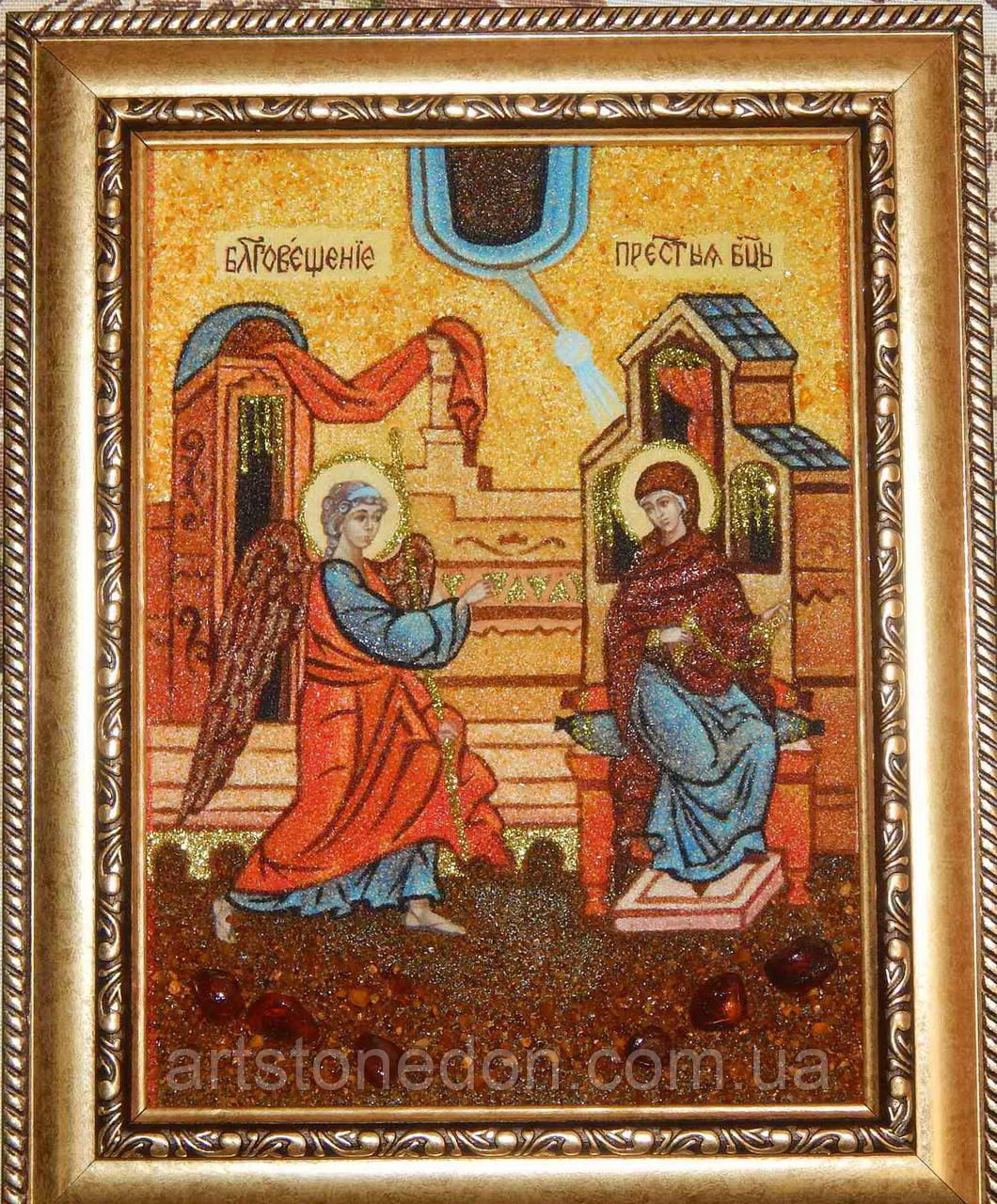 Икона из янтаря Благовещение Пресвятой Богородицы