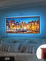 Картина с подсветкой на светодиодах, Цветные дома