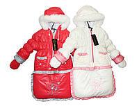 Комбинезон детский - трансформер на меху для девочки. Снеговик, фото 1