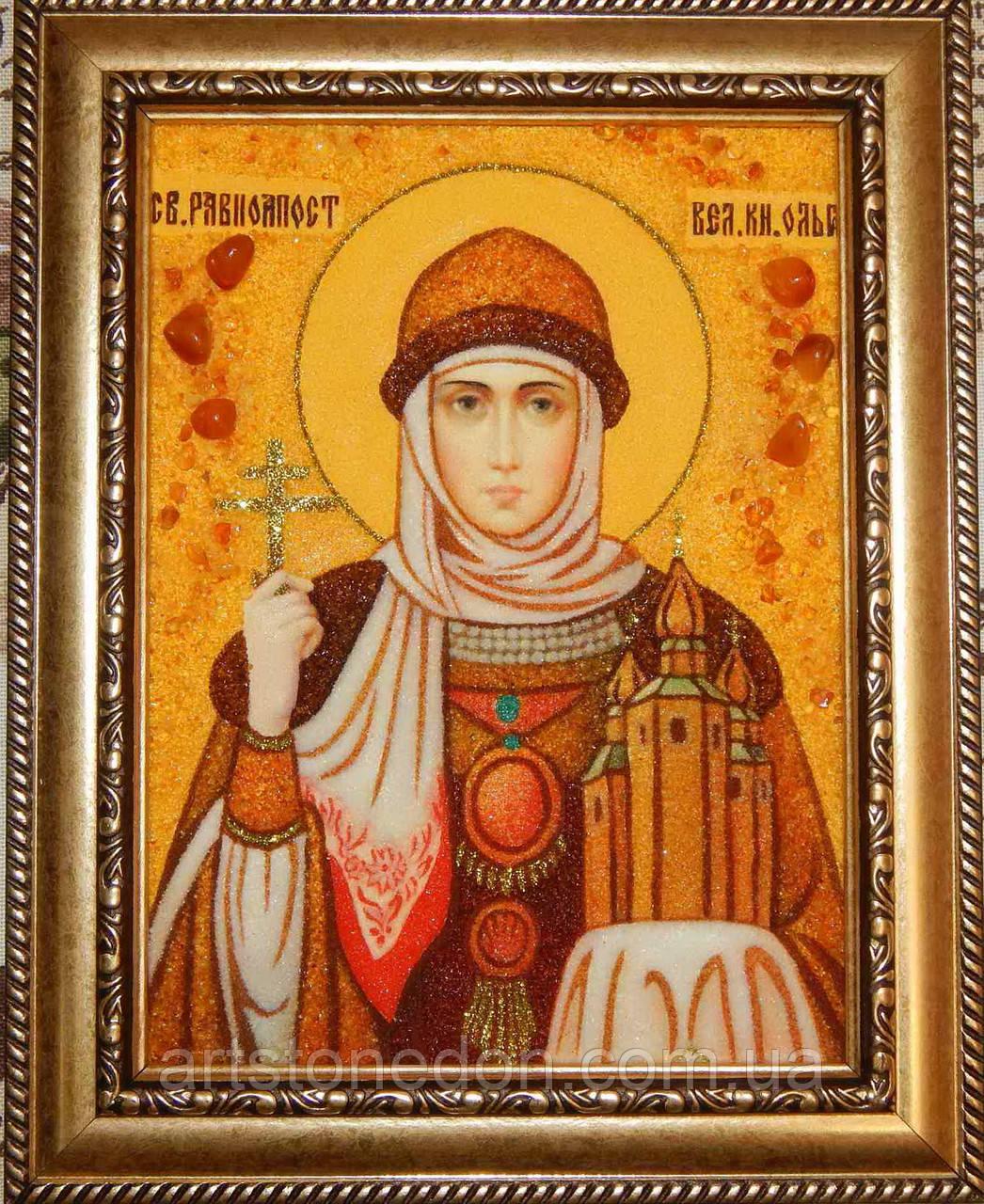 Икона из янтаря Святая Ольга