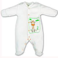 """Детский утепленный комбинезон-человечек """"Жираф"""" для малышей (молочный)"""