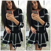 Стильный и модный костюм кофта и юбка-солнце черный, фото 1
