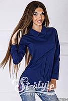 Стильная темно-синяя блузка с воротником и длинным рукавом. Арт-01000/73