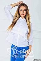 Модная белая блузка с белым воротником и рукавом 3 четверти. Арт-01013/73