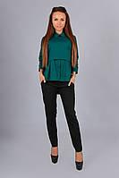 Модная зеленая блузка с воротником и рукавом 3 четверти. Арт-01013/73