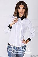 Стильная белая шифоновая блузка с черным воротником и рукавом. Арт-01014/73