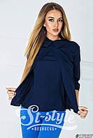 Модная темно-синяя шифоновая блузка с воротником и рукавом 3 четверти. Арт-01016/73