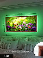 Картина с подсветкой на светодиодах,Зелень и цветы